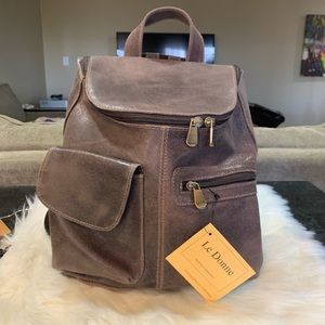 Le Donne Distressed Leather Backpack Purse